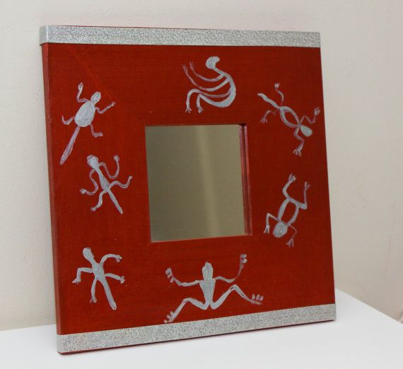 Silver Creatures  Wooden hand painted  mirror by HelioNiki on Etsy