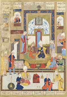 KHUSRAW AND SHIRIN ENJOYING MUSIC SAFAVID SHIRAZ, IRAN, 1530-40 AD Opaque pigments heightened with gold on paper, the couple seated on a gold throne, surrounded with attendants fanning them, reading or playing music, the scene set in a richly decorated palace interior, with lines of text in small black nasta'liq script above and below arranged in six columns, within gold, black and blue rules,