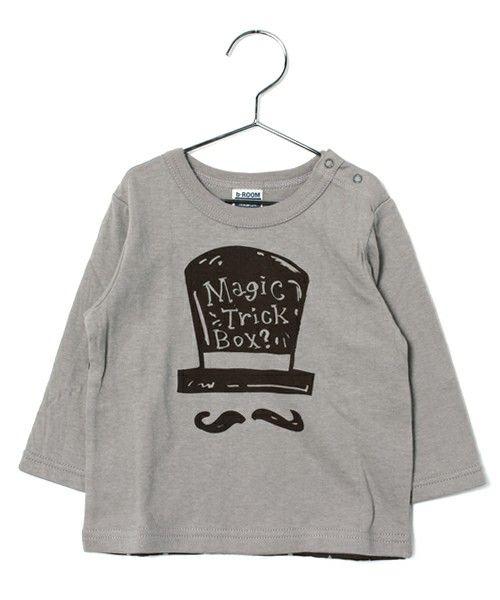 b-room (ビールーム)のヒゲ男爵デザイン長袖Tシャツ(Tシャツ/カットソー)|ライトグレー