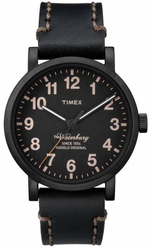 7f0ded5578e1 Watch Timex TW2P59000 man leather black total black waterbury original  indiglo  Timex