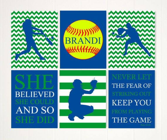 Softball wall art softball room decor gift for teen girl