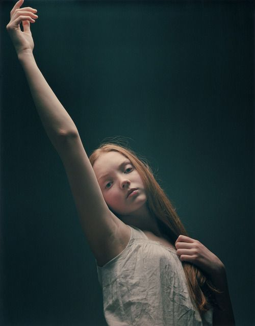 Lily Cole  ( lighting and texture...)  I am looking at how high she can raise her arm. I cannot do that today.