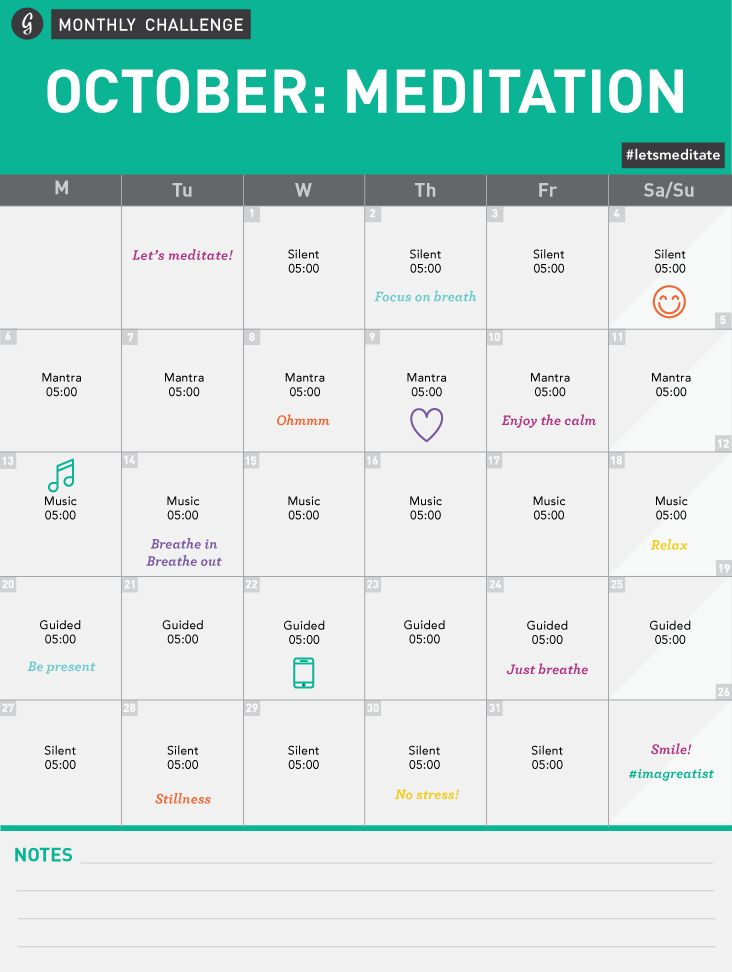 Greatist Monthly Challenge-- October Meditation Challenge Calendar