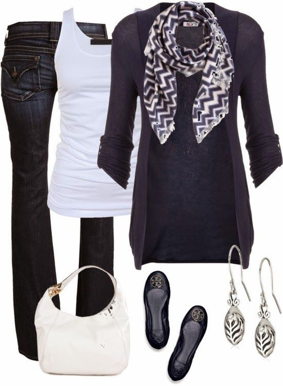Great Navy Blue Outfit. Chevron scarf, blue cardigan, white tank,