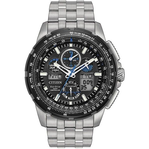 Citizen Men's Limited-Edition Eco-Drive Promaster Super Skyhawk A-T... ($716) ❤ liked on Polyvore featuring men's fashion, men's jewelry, men's watches, silver, mens bracelet watch, mens watch bracelet, citizen eco drive mens watches, mens digital watches and citizen mens watches