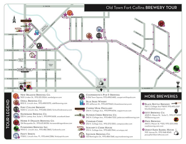 A map of all the breweries in Fort Collins, Colorado? Done. Plus, this map gives you a route to visit all of them in one day! From The Armstrong Hotel in Fort Collins, Colorado.