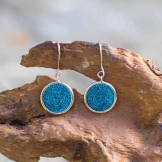 Delicate, hand woven sisal and 925/ sterling silver.   Made fairly with love by the women of Tintsaba, in Swaziland.   Diameter 18mm  Find out more about Tintsaba...