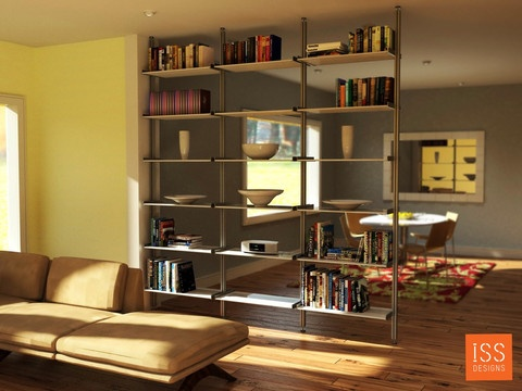Do you want to separate a room and add some storage space?  See this all aluminum room divider with style.: Aluminum Rooms, About Rooms Dividers, Aboutroom Dividers, House Ideas, Modern Bookcase, Dividers Ideas, Basements Ideas, Modern Shelves, Bedrooms Ideas