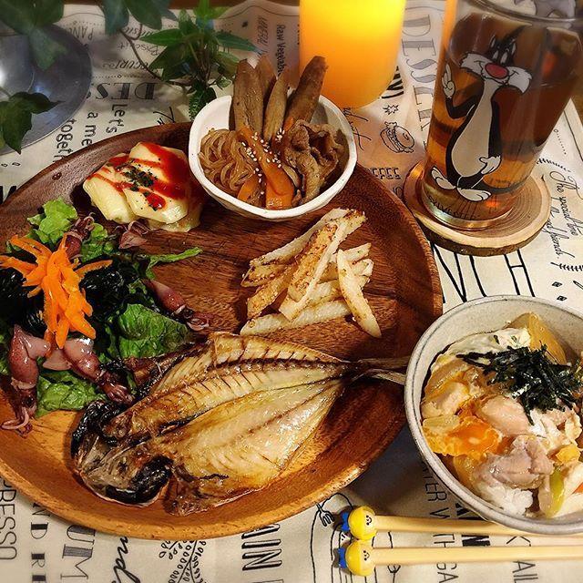 akiranranaki2016.3.16 #娘ごはん #夕飯 #娘プレート #晩御飯#夕ごはん ゆう#夕ご飯#おうちごはん#オウチゴハン#和食  今日は、7時半~娘が利用している学童さんの集まりがあるので早めに!! いただきまーす♡\(*ˊᗜˋ*)/♡ 今日は、  アジの干物焼き。  ワカメ、ホタルイカ…  じゃがいもチーズ。  ゴボウと豚バラの煮物。  長芋…韓国風炒め。  親子丼!! でした(*ˊૢᵕˋૢ*) 今夜は、晩酌したいけど我慢するʕ•̫͡•ʔ♬✧\♥︎/車は運転しないからいいか… だけど酒臭いのは。。。。 悩むなーwww
