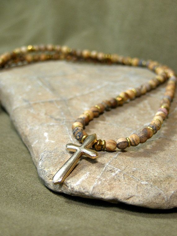 Mens Necklace  Cross Necklace  Guys Beaded Necklace by StoneWearDesigns