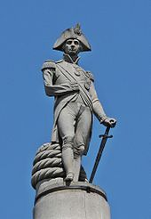 Nelson's Column, The Craigleith sandstone statue of Nelson is by Edward Hodges Baily.