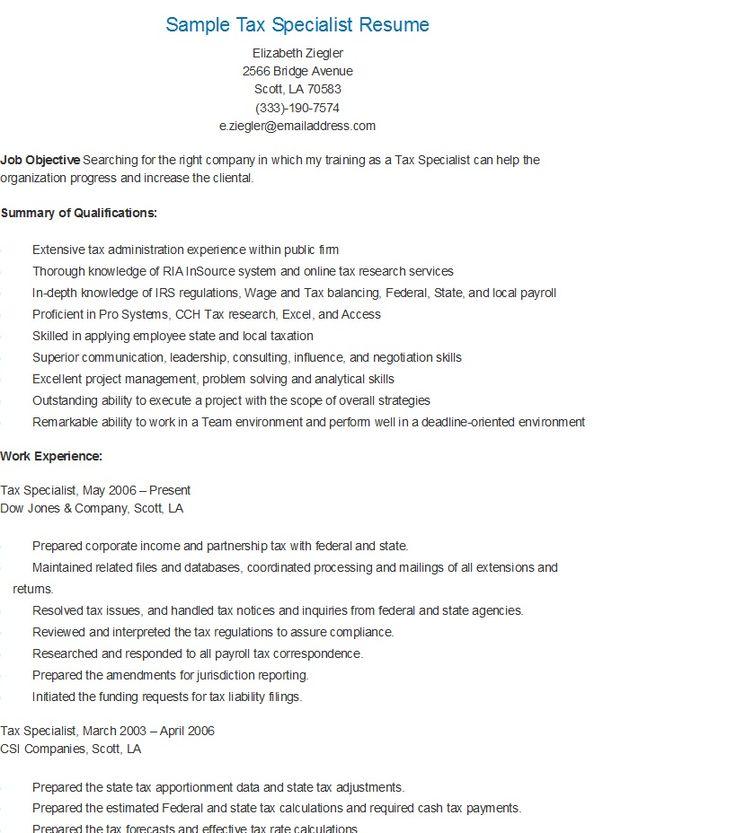 Sample Tax Specialist Resume Resume Summary Resume Resume Examples