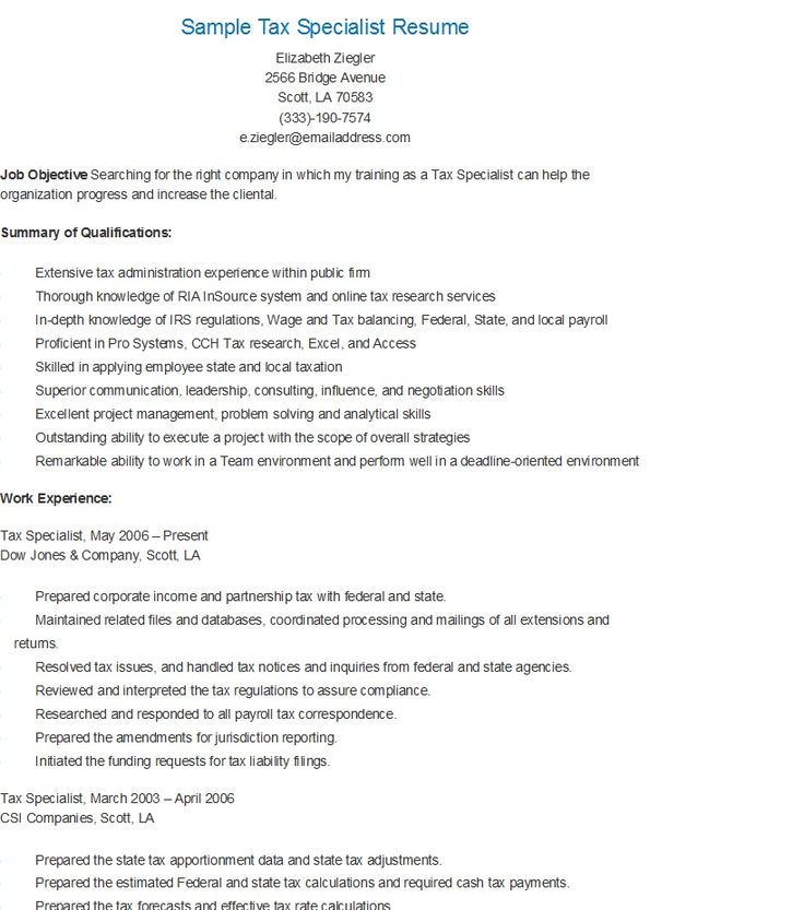 sample tax specialist resume