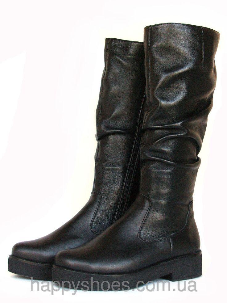 """Купить Сапоги зимние черные кожаные в Запорожье от компании """"HappyShoes"""" - 405086163"""