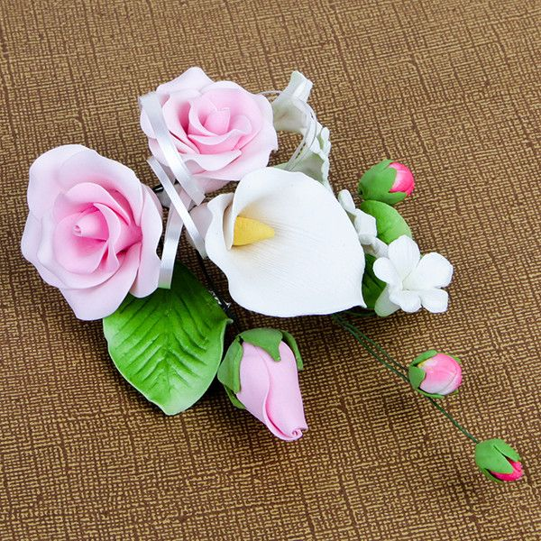 Medium Tea Rose & Calla Lily Sprays in Pink are gumpaste sugarflower cake decorations perfect as cake toppers for cake decorating fondant cakes and wedding cakes. | CaljavaOnline.com