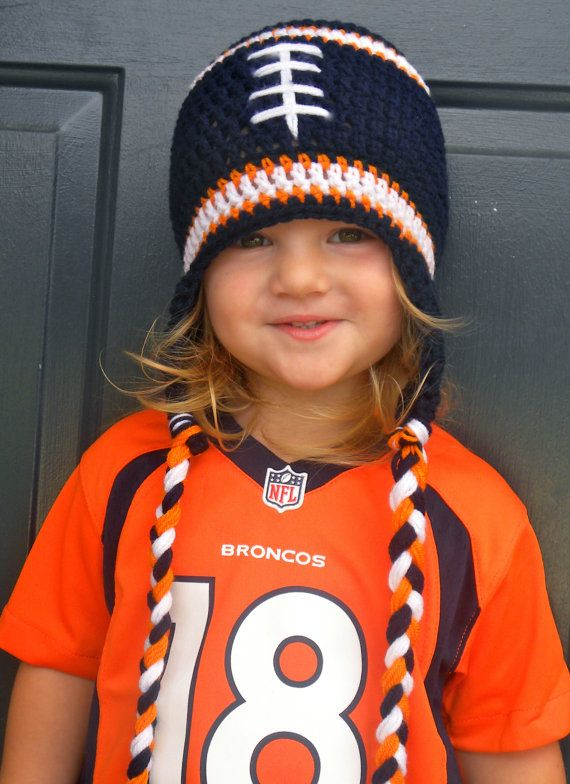 Blue and Orange Football Hat by CourtneyCrochets on Etsy, $22.00