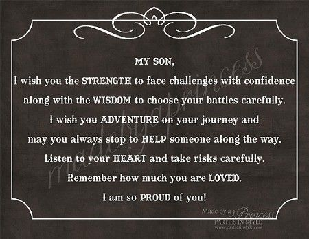 My Son, I Wish You Strength, Wisdom, & Adventure Strong Inspirational Quote INSTANT DOWNLOAD $5