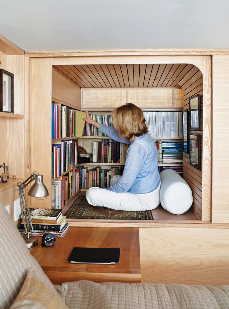 Wood Works in a tiny NYC apartment - adorable tiny little library nook!