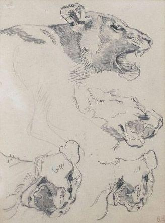 Delacroix - Lioness Heads.