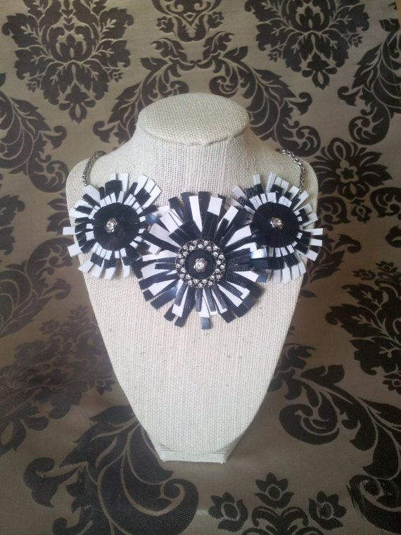 Black and White Leather Fringe Flower Bib by SimplyYouAccessories