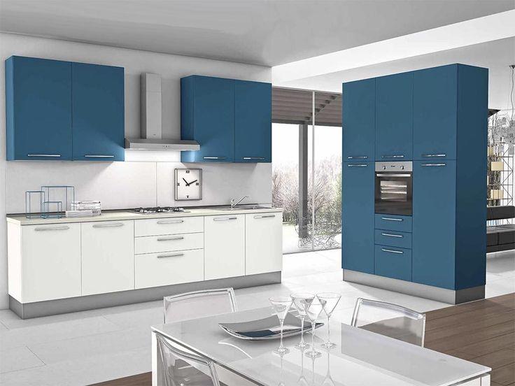 Cucina Componibile k0009 Blu Ceruleo Opaco