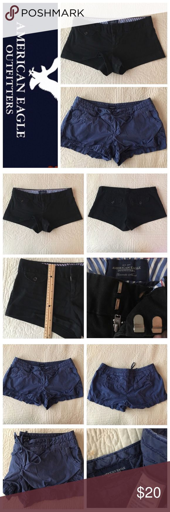 """‼️SALE! American Eagle shorts! 2 for $12! These shorts were previously listed separately so don't miss out on this great deal! Includes: One pair of black American Eagle """"favorite short"""" - size 4. Softer material than jeans! Length shown in picture with a ruler. Zipper and double-clasp closure, button pockets on back. And One pair of blue American Eagle shorts - size 4. Super cute shorts with a material softer than jeans! Four pockets and a zipper/button/tie closure. Both are previously…"""