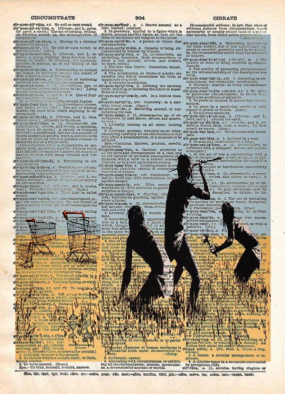 Trolley hunters Banksy wall art  dictionary page art by Loft817, $7.99