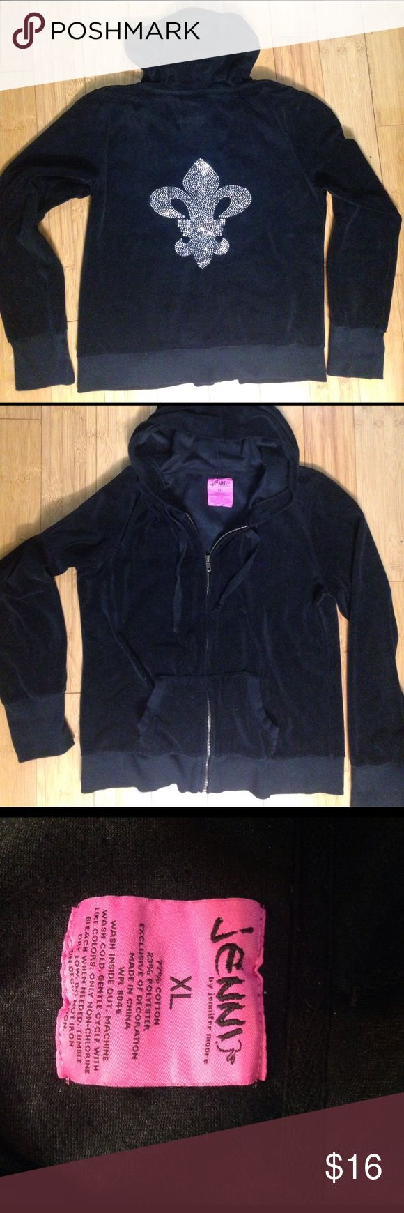 Jenny By Jennifer Moore jacket with Bling Black velour jacket with a bling design on back in excellent condition, no issues. Size is XL Jenni by Jennifer Moore Jackets & Coats