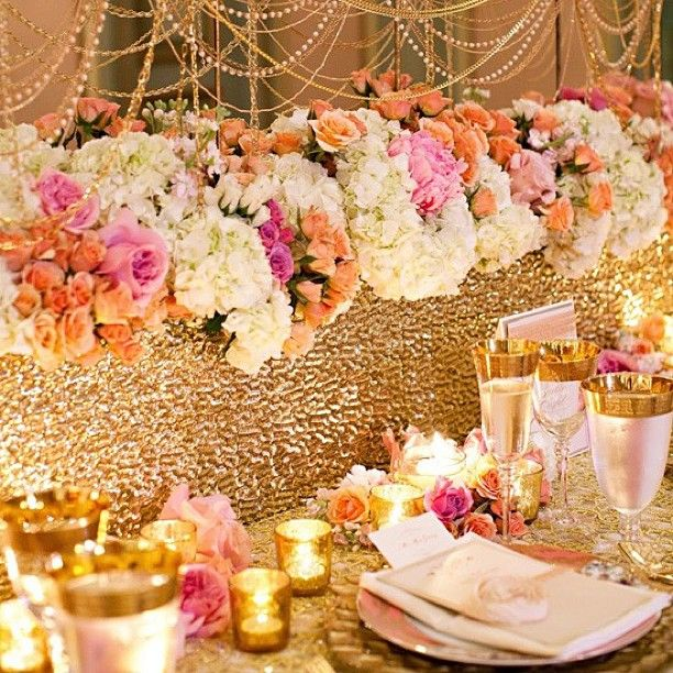 find this pin and more on troy and racquel wedding opulent wedding tablescape gold with peach
