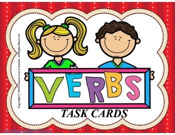 $Verb Task Cards. These task cards are a fun way to help your precious students practice and learn how to identify verbs. These cards can be used in various ways:*Independent centers *Teacher-led centers*Game center for weekly skill*Small groups teacher led*Small groups student led*Homework practice *Partner (seat) work*Pre-assessment practice*Review....,Please follow my store for new products!!