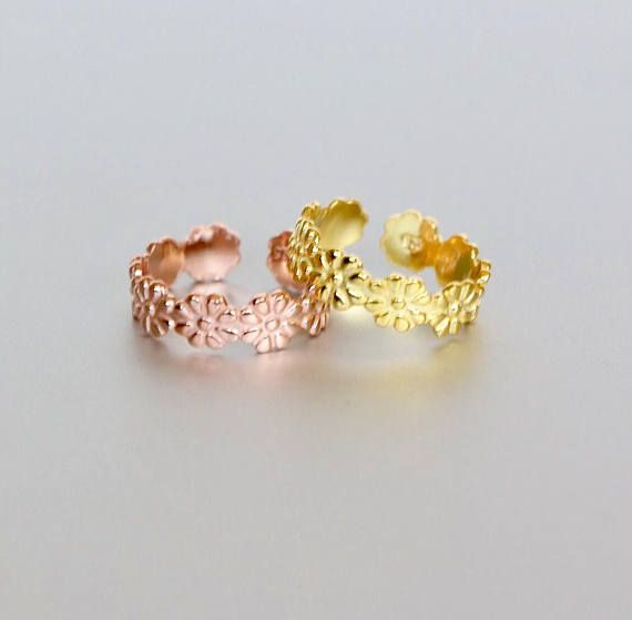 Daisy Toe Rings Set Gold And Rose Gold Toe Ring Simple And