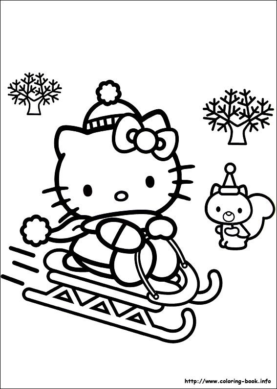 Hello Kitty Sleding Coloring Page