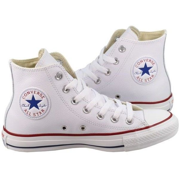 Converse Womens Shoes All Star High White Leather ($85) ❤ liked on Polyvore  featuring