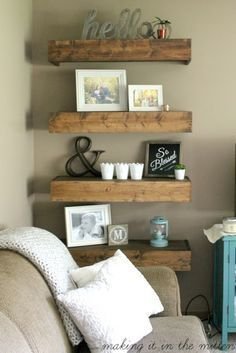 Living Room decor - rustic farmhouse style DIY wood floating shelves in natural wood | Making It In The Mitten