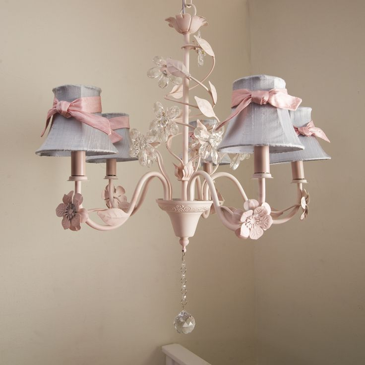 Crystal Flower Chandelier with Shades and Sashes