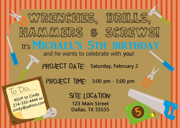 Tool Time Handyman Construction Birthday Invitation Or