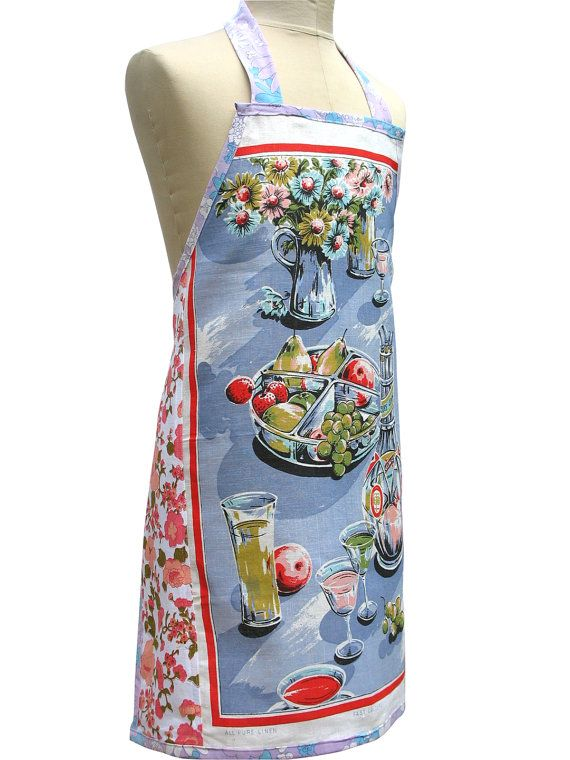 well if you're going to be a fabulous chef, you're going to need a fabulous apron, these are handmade featuring panels from vintage tea towels and they are just amazing! Metro Retro  The Summer Alfresco Table   by MerryGoRoundHANDMADE