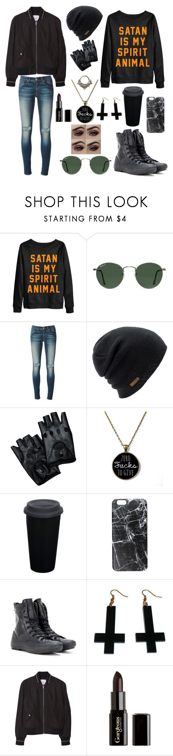 """Rebellious Disguise"" by luminous-intensity ❤ liked on Polyvore featuring Ray-Ban, rag & bone/JEAN, Coal, Casetify, Converse, Chicnova Fashion, MANGO and Gorgeous Cosmetics"