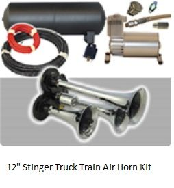 """""""The Stinger"""" The most compact 12"""" horn assembly available that will give you the attention when you most need it.  Try the Stinger and you will see the unbelieveable response at 150 Decibels!! Includes our suggested horn management kit availabe to optimize your Horn system.  Ask our sales representatives for more details. For more information visit here :http://www.airhornit.com/"""