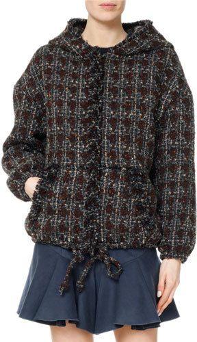 Isabel Marant Fliver Tweed Hooded Bomber Jacket