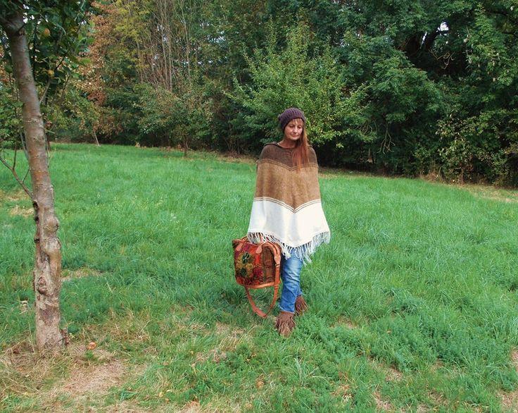 Capes & Ponchos - ♥INDIO♥Ethno Hippie Strick Poncho braun beige - ein Designerstück von santa-fee bei DaWanda