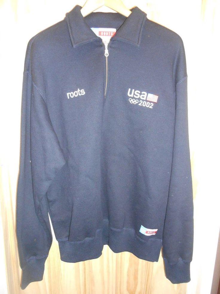 ROOTS 2002 Olympics Team USA Medium M Sweatshirt Pullover Sewn Navy Blue #ROOTS #USA