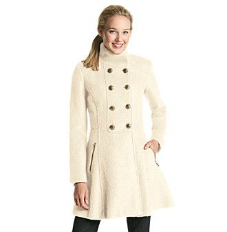 guess double breasted boucle walker coat with goldtone. Black Bedroom Furniture Sets. Home Design Ideas