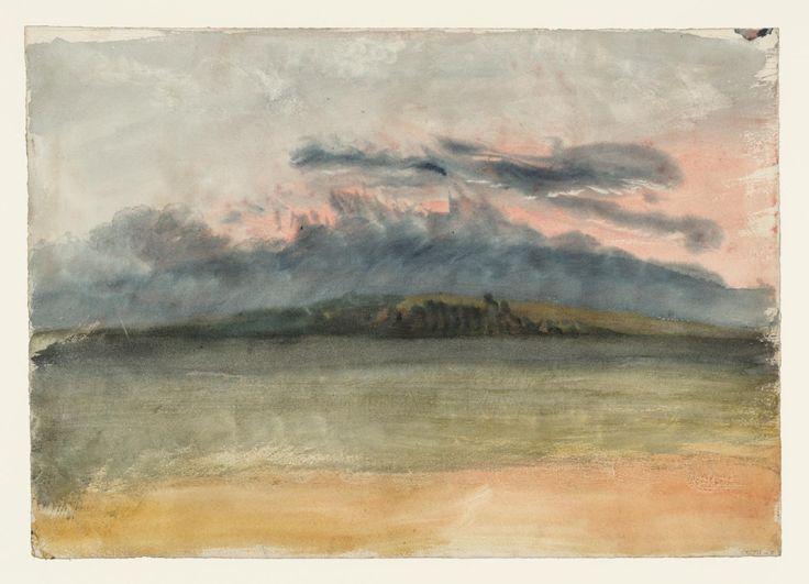 "Joseph Mallord William Turner, ""Viharfelhők át a Landscape at Sunset 'c.1823-6"