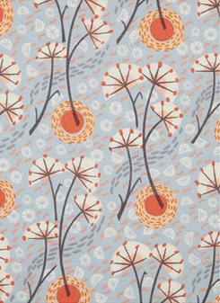 Winter Stem dress fabric for Liberty, by Angie Lewin