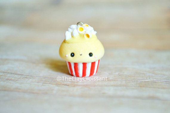 DIY your photo charms, 100% compatible with Pandora bracelets. Make your gifts special. Make your life special! Kawaii Popcorn Cupcake Charm Polymer Clay by TheClayCroissant