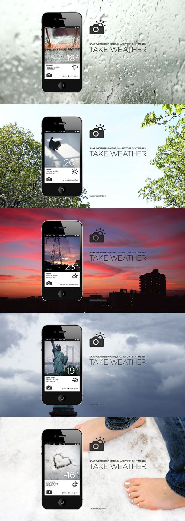 Take Weather. A new weather-social networking application with photos. Snap weather photos, share your sentiments. I think it's pretty cool.