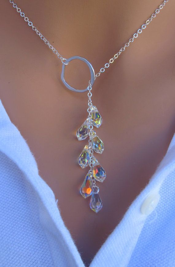LOVE SALE Crystal Lariat Necklace in STERLING por RoyalGoldGifts