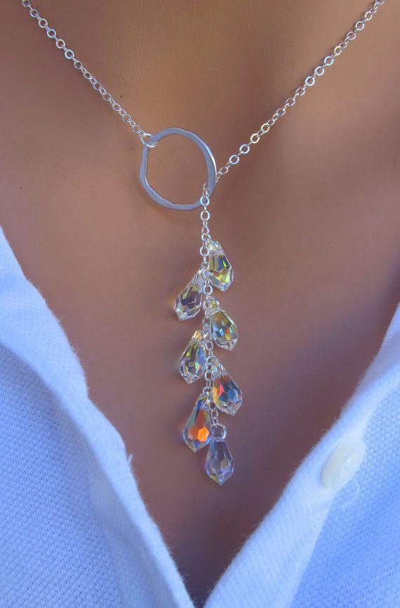 LOVE SALE Crystal Lariat Necklace in STERLING por RoyalGoldGifts