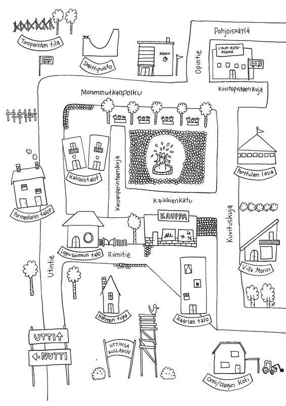 Värityskuva Utin kartasta ja tehtäviä blogissa